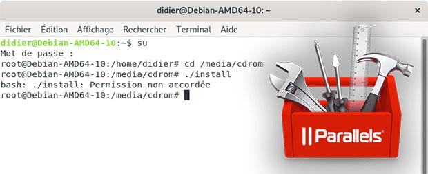 Installation des outils Parallels sur Debian : Permission non accordée
